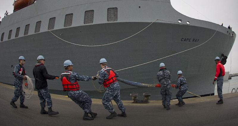 American ship MV Cape Ray is docked at Naval Station in Rota, Spain, on Thursday Feb. 13, 2014. The American ship arrived on Thursday at the naval base of Rota on Spain's southwestern coast used by the U.S. to resupply ahead of an unprecedented mission to collect and destroy mustard gas, raw materials for sarin nerve gas and tons of other highly toxic chemicals that form part of Syria's chemical weapons program. After leaving Spain, the Cape Ray's next port of call is expected to be Gioia Tauro in southern Italy, where experts from the Organization for the Prohibition of Chemical Weapons say it will take on board 560 metric tons of chemicals that have been transported from the Syrian port of Latakia in two cargo ships from Denmark and Norway. (AP Photo/Miguel Angel Morenatti)