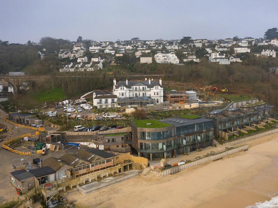 The Carbis Bay Estate hotel and beach, set to be the main venue for the upcoming G7 summit, photographed by drone on 2 March 2021 (Getty)
