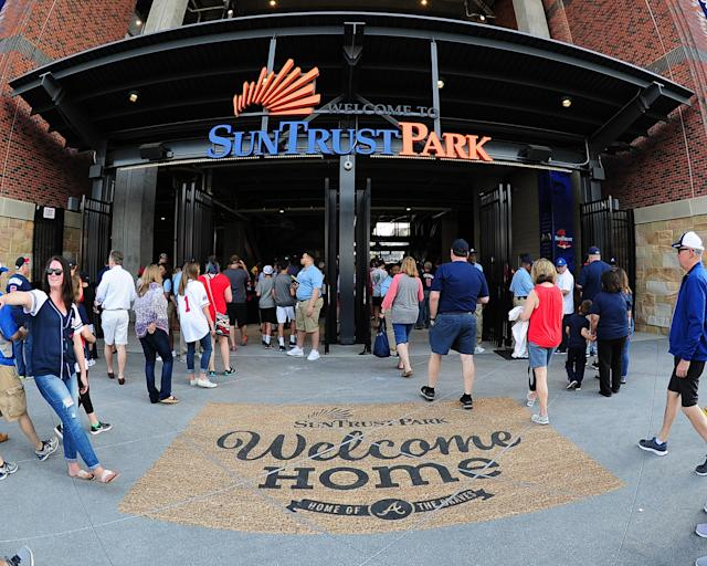 ATLANTA, GA – APRIL 14: A general view of the 3rd base entry to SunTrust Park before the game between the Atlanta Braves and the San Diego Padres on April 14, 2017 in Atlanta, Georgia. (Photo by Scott Cunningham/Getty Images)