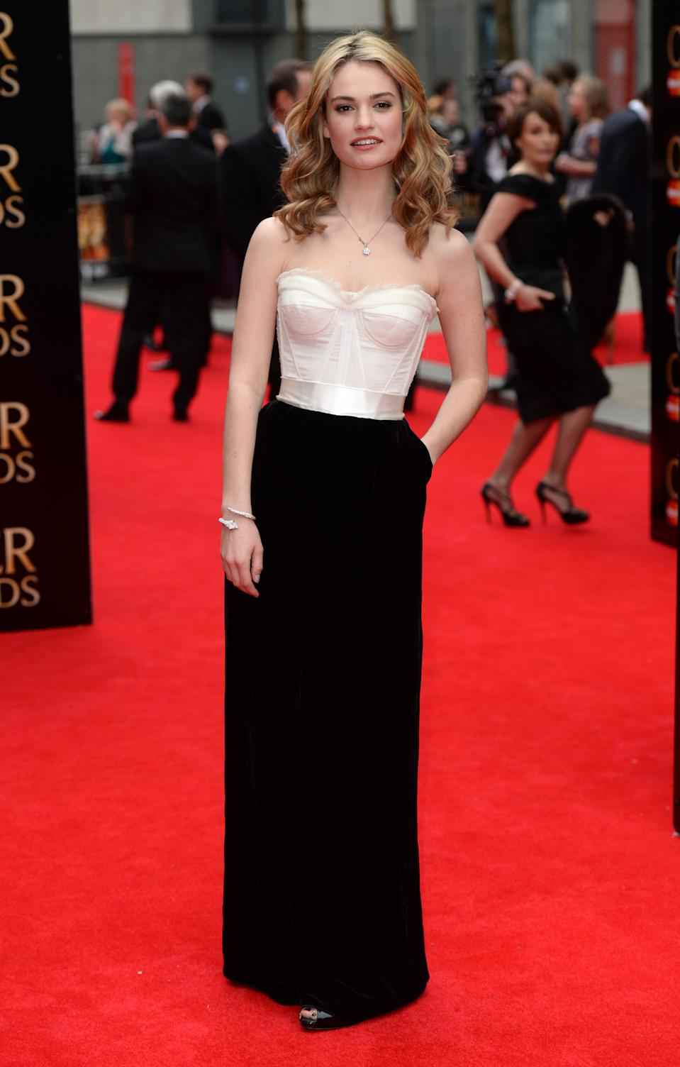 Lily James arriving at the Olivier Awards 2013, Royal Opera House, Covent Garden, London.