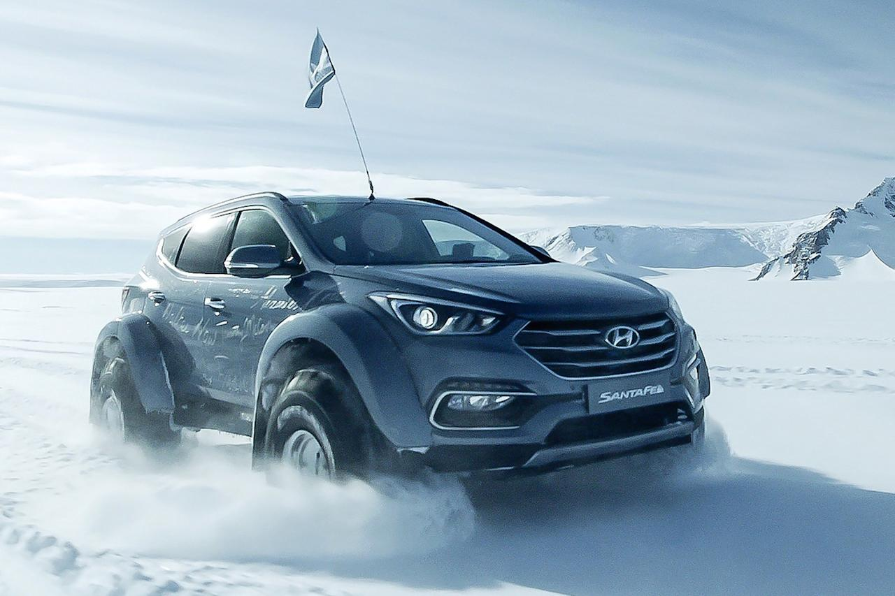 A Hyundai Santa Fe crossed Antarctica in commemoration of the 100th anniversary of Ernest Shackleton's expedition. The SUV was modified by Arctic Trucks, the same company that built Top Gear's Toyota Hilux pickups.