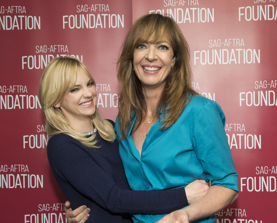 LOS ANGELES, CA - MAY 03:  Actors Anna Faris (L) and Allison Janney attend SAG-AFTRA Foundation Conversations with Anna Faris  and Allison Janney for '