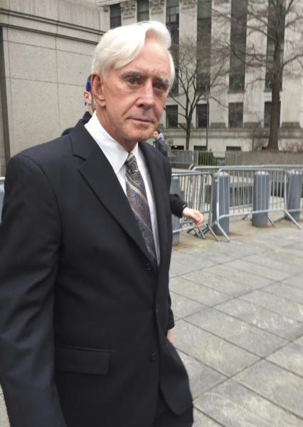 "William ""Billy"" Walters leaves Manhattan federal court in New York, Friday, April 7, 2017, after he was convicted of insider trading charges. The Las Vegas gambler linked to golfer Phil Michelson said outside court that he ""just lost the biggest bet of my life."" His lawyer promised an appeal. Prosecutors say he earned over $40 million illegally. (AP Photo/Larry Neumeister)"