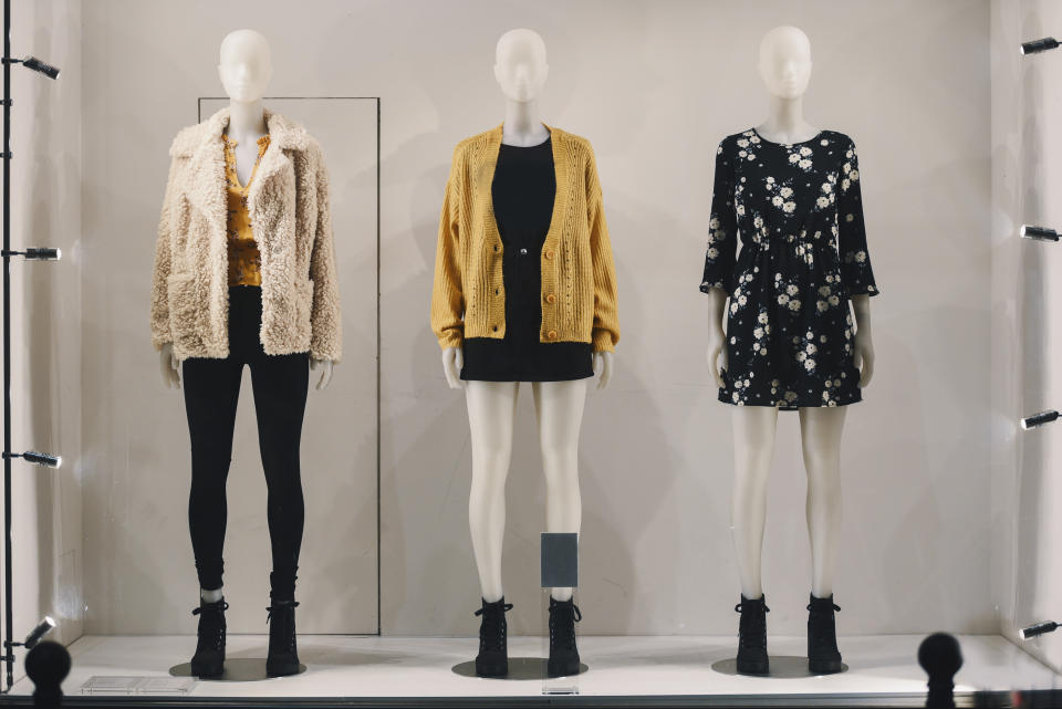 Women clothing on mannequins in a store in Paris, 2018.