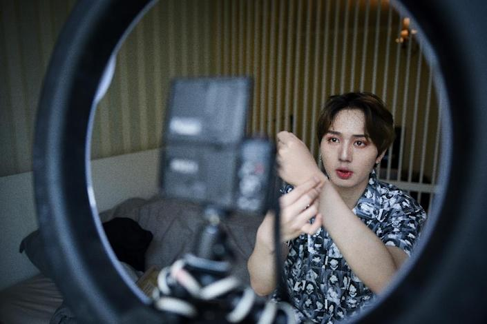 Lan Haoyi shares beauty tips online as part of China's booming beauty industry for men (AFP Photo/WANG ZHAO)