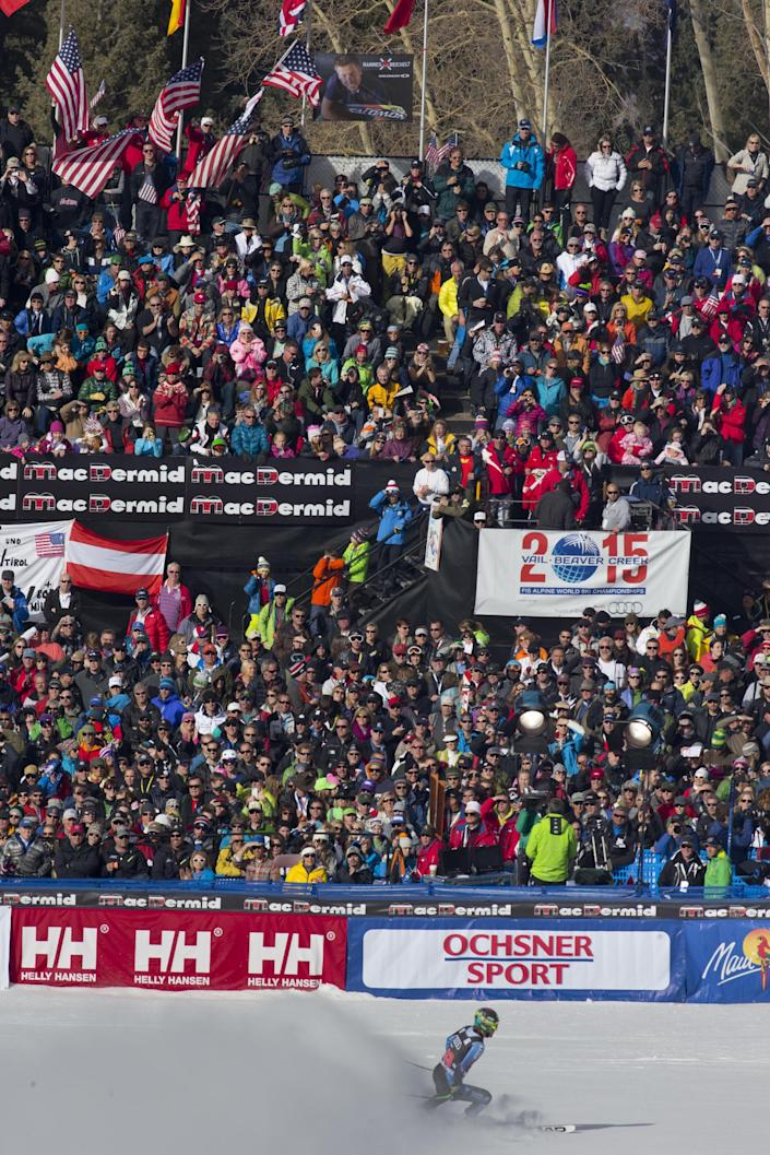 Ted Ligety of the United States, skis into the finish area during the men's World Cup downhill ski race in Beaver Creek, Colo., on Friday, Nov. 30, 2012. (AP Photo/Nathan Bilow)