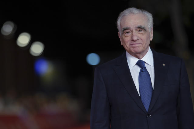 Martin Scorsese poses on the red carpet of the movie The Irishman at the Rome Film Fest (Credit: AP Photo/Andrew Medichini)
