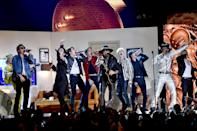 """To <a href=""""https://www.teenvogue.com/story/bts-wore-amazing-outfits-for-their-grammys-2020-performance-with-lil-nas-x?mbid=synd_yahoo_rss"""" rel=""""nofollow noopener"""" target=""""_blank"""" data-ylk=""""slk:perform with BTS"""" class=""""link rapid-noclick-resp"""">perform with BTS</a> and Billy Ray at the 2020 Grammys, the singer rocked a silver version of his then trademark cowboy ensembles."""