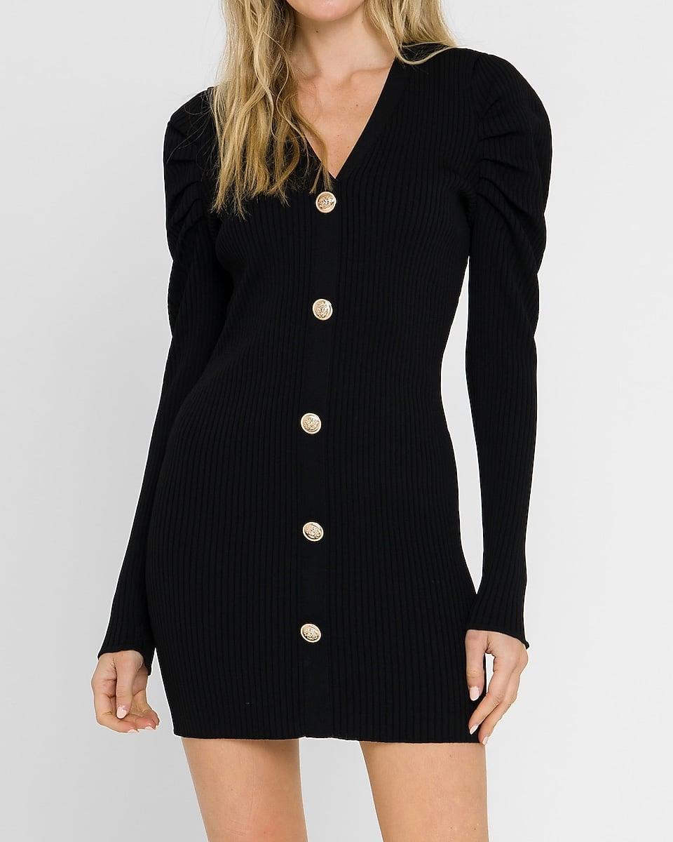 <p>We're obsessed with this <span>Endless Rose Long Sleeve Button Front Knit Mini Dress</span> ($110). The button details make it look so chic.</p>