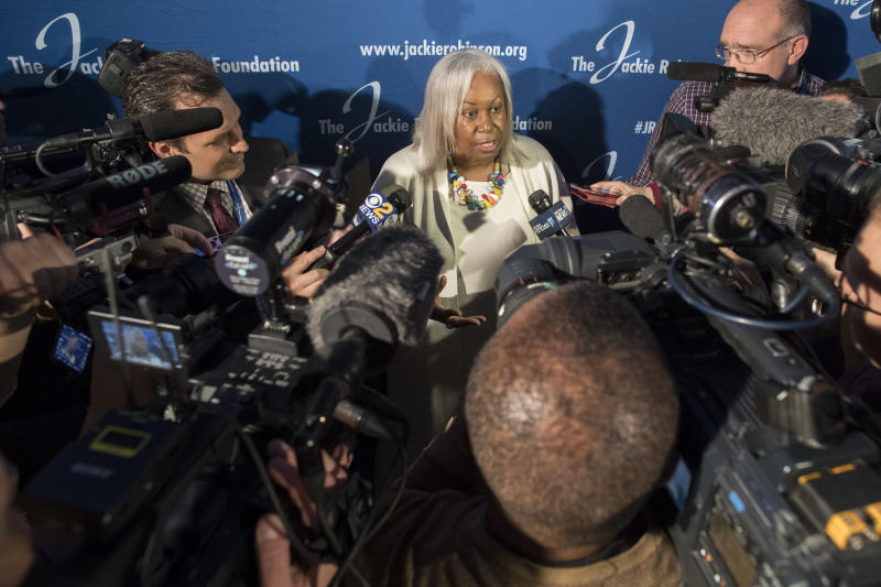 Sharon Robinson, daughter of Jackie Robinson speaks to reporters after a ceremonial ground breaking for the Jackie Robinson Museum, Thursday, April 27, 2017, in New York. (AP Photo/Mary Altaffer)