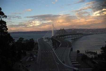 A general view of the eastern span of the San Francisco-Oakland Bay bridge in San Francisco, California