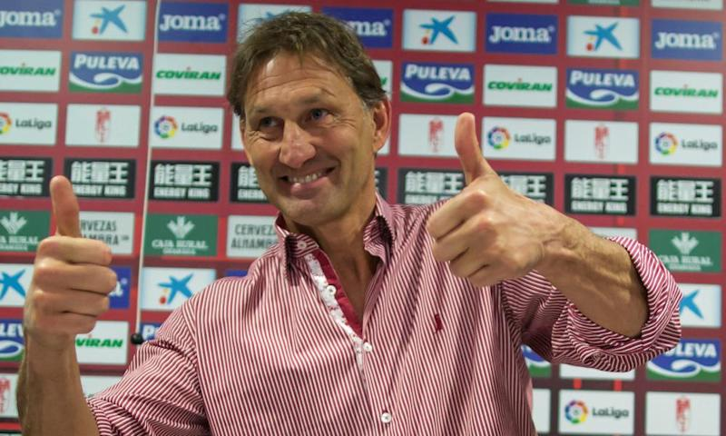 Tony Adams in good spirits after being presented as the new, short-term manager of Granada