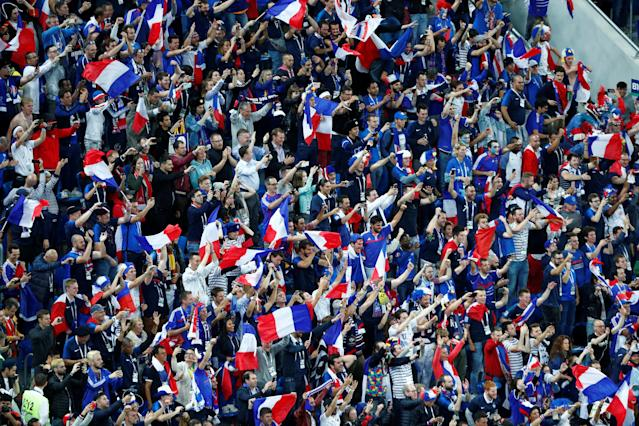 <p>France fans celebrate after the match. REUTERS/Max Rossi </p>