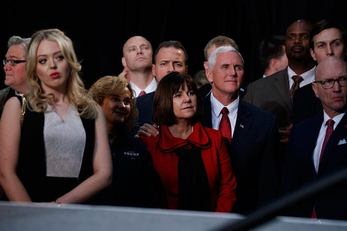 <p>Republican vice presidential candidate Gov. Mike Pence, R-Ind., stands with his wife Karen as they watch Republican presidential candidate Donald Trump speak during a campaign rally, Tuesday, Nov. 8, 2016, in Grand Rapids, Mich. (Photo: Evan Vucci/AP) </p>