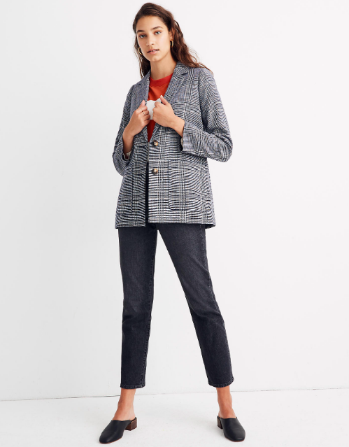 """<p><strong>Madewell</strong></p><p>madewell.com</p><p><strong>$168.00</strong></p><p><a href=""""https://go.redirectingat.com?id=74968X1596630&url=https%3A%2F%2Fwww.madewell.com%2Fdorset-blazer-in-navy-glen-plaid-AA301.html&sref=https%3A%2F%2Fwww.cosmopolitan.com%2Fstyle-beauty%2Ffashion%2Fg32972452%2Finterview-outfit-ideas%2F"""" rel=""""nofollow noopener"""" target=""""_blank"""" data-ylk=""""slk:Shop Now"""" class=""""link rapid-noclick-resp"""">Shop Now</a></p><p>Who says you can't wear jeans to an interview? Usually dark-wash ones look more dressy, and when paired with a structured blazer and leather bock-heeled shoes, you'll look so effortless when you're answering questions. </p>"""