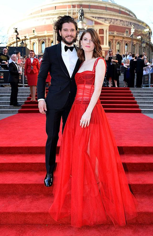 """<p><a href=""""https://www.yahoo.com/entertainment/kit-harington-rose-leslie-engaged-204029618.html"""" data-ylk=""""slk:A wedding is coming;outcm:mb_qualified_link;_E:mb_qualified_link"""" class=""""link rapid-noclick-resp"""">A wedding is coming</a>! The guy who plays Jon Snow popped the question to his on and off screen love earlier this year. The <em>Game of Thrones </em>stars took their romance public in 2016 after dating for several years. (Photo: Jeff Spicer/Getty Images) </p>"""
