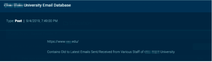 A listing for a trove of emails that were hacked from a university. (Sixgill)