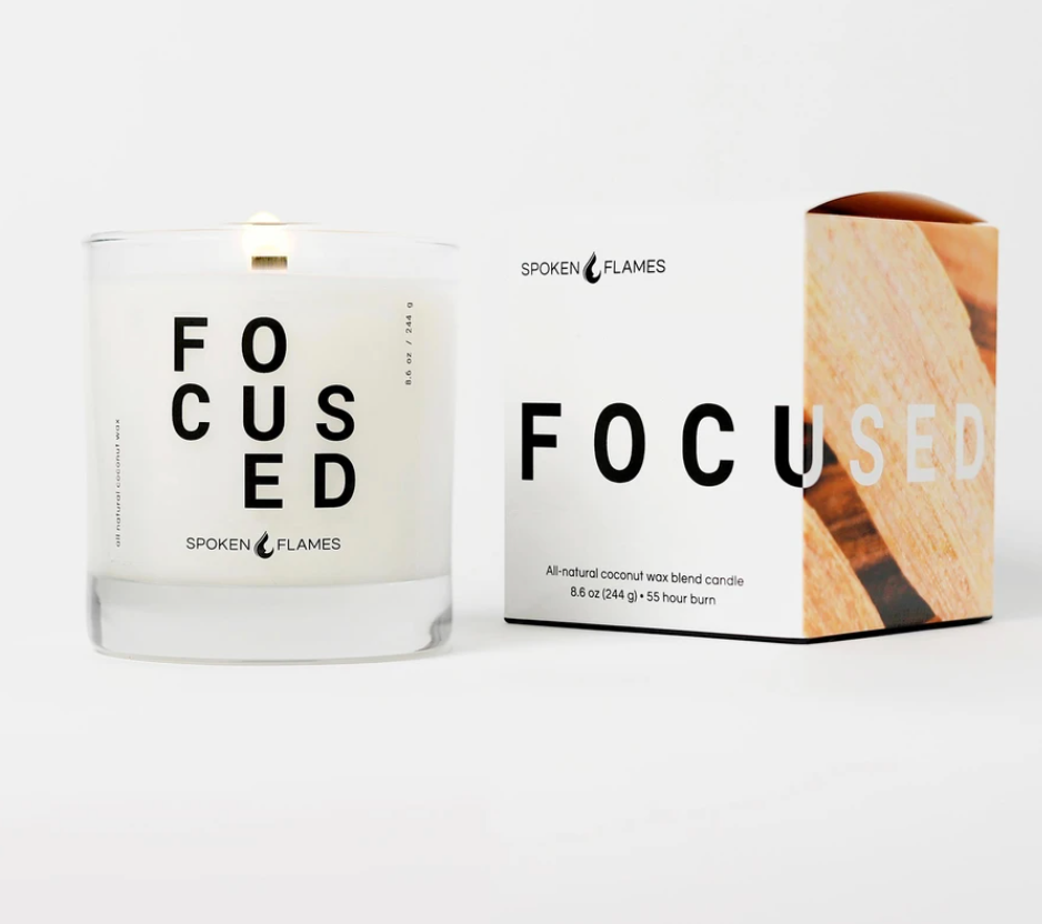 """Enhance dad's self-care routine with this hand-poured coconut wax candle that smells of vanilla and sandalwood. <br><br><strong>Spoken Flames</strong> Focused Candle, $, available at <a href=""""https://go.skimresources.com/?id=30283X879131&url=https%3A%2F%2Fspokenflames.com%2Fcollections%2Fcandles%2Fproducts%2Ffocused"""" rel=""""nofollow noopener"""" target=""""_blank"""" data-ylk=""""slk:Spoken Flames"""" class=""""link rapid-noclick-resp"""">Spoken Flames</a>"""