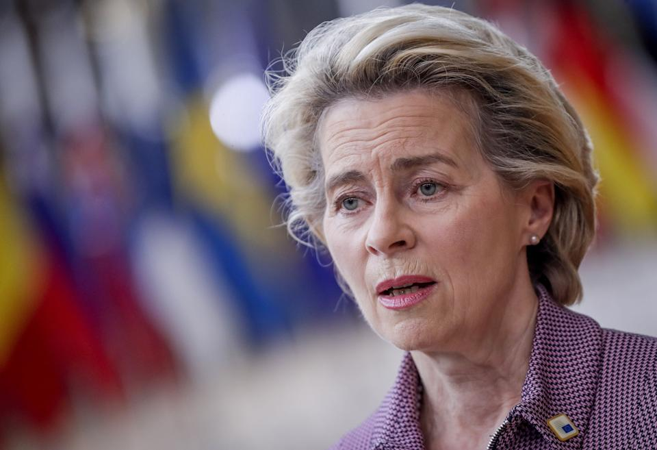 European Commission President Ursula von der Leyen arrives for a two days European Union (EU) summit at the European Council Building in Brussels, on October 15, 2020. - European leaders meet to re-examine the post-Brexit talks under pressure from English Prime Minister to give ground or see Britain walk away with no trade deal. (Photo by Olivier HOSLET / POOL / AFP) (Photo by OLIVIER HOSLET/POOL/AFP via Getty Images) (Photo: OLIVIER HOSLET via Getty Images)