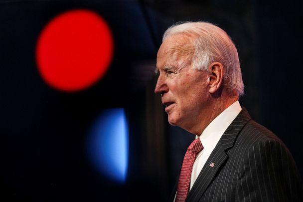 PHOTO: President-elect Joe Biden speaks to reporters following an online meeting with members of the National Governors Association executive committee in Wilmington, Del., Nov. 19, 2020. (Tom Brenner/Reuters)
