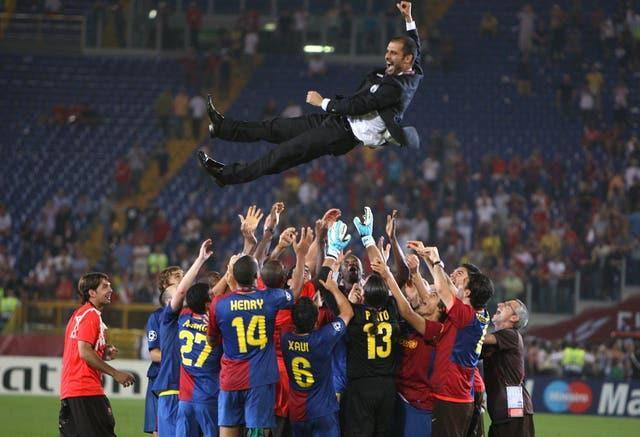 Guardiola guided Barcelona to Champions League glory in his first season as boss as part of a treble (Nick Potts/PA).