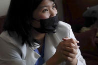 Natty Jumreornvong, a Thai-born medical student at the Icahn School of Medicine at Mount Sinai, during an interview recalls being the victim of anti-Asian attacks, Thursday April 29, 2021, in New York. Jumreornvong is among medical professionals of Asian and Pacific Island descent who feel the anguish of being racially targeted because of the virus while toiling to keep people from dying of it. (AP Photo/Bebeto Matthews)