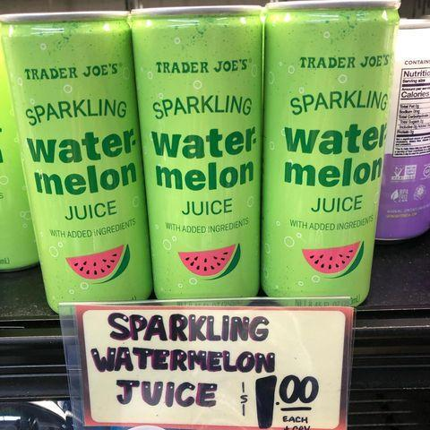 """<p>Just in time for the warm weather, Trader Joe's introduced sparkling watermelon juice. Has anything ever sounded so refreshing?! Each can packs only 60 calories. TJ's sells 'em in 4-packs, but if you want a sample before you commit, you can buy a single can for only $1. $1!!!</p><p><a href=""""https://www.instagram.com/p/BxN1hXogdx8/"""" rel=""""nofollow noopener"""" target=""""_blank"""" data-ylk=""""slk:See the original post on Instagram"""" class=""""link rapid-noclick-resp"""">See the original post on Instagram</a></p>"""