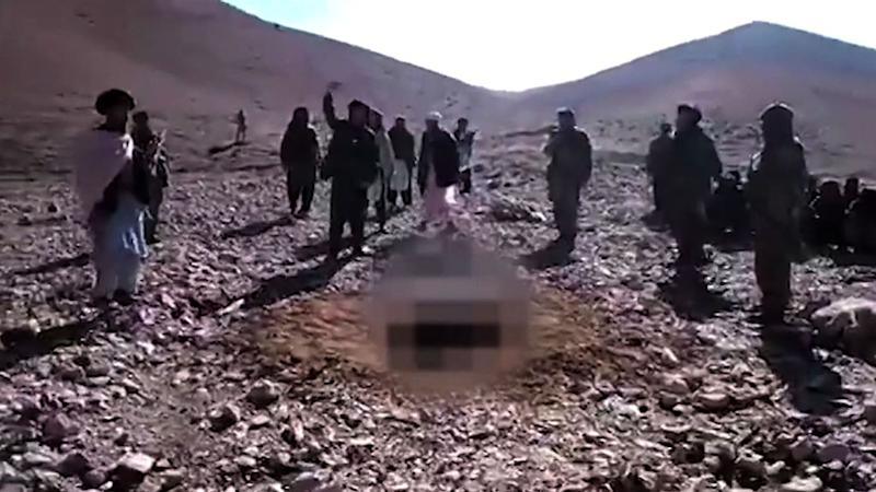 Afghan officials said Rokhsahana (her image pixelated) was stoned to death about a week ago in a Taliban-controlled area just outside Firozkoh (AFP Photo/)