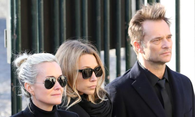 Laeticia Hallyday, Laura Smet and David Hallyday at Johnny Hallyday's funeral.