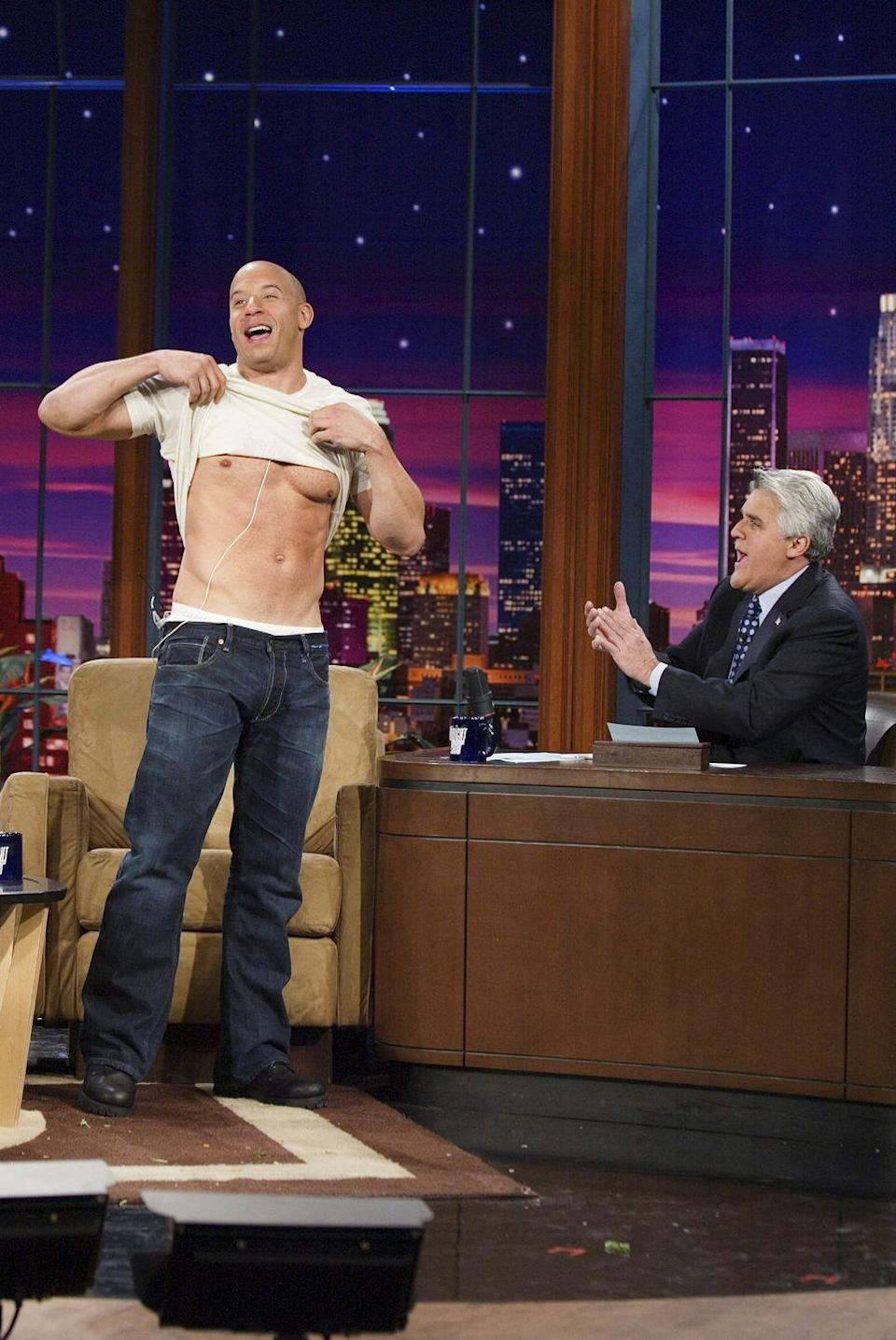 <p>Action star Vin Diesel was so eager to show the audience of <em><em>The Tonight Show with Jay Leno</em></em> his chiseled form, that the <em>Fast & Furious</em> actor stood up and lifted his shirt during his interview in 2006.</p>