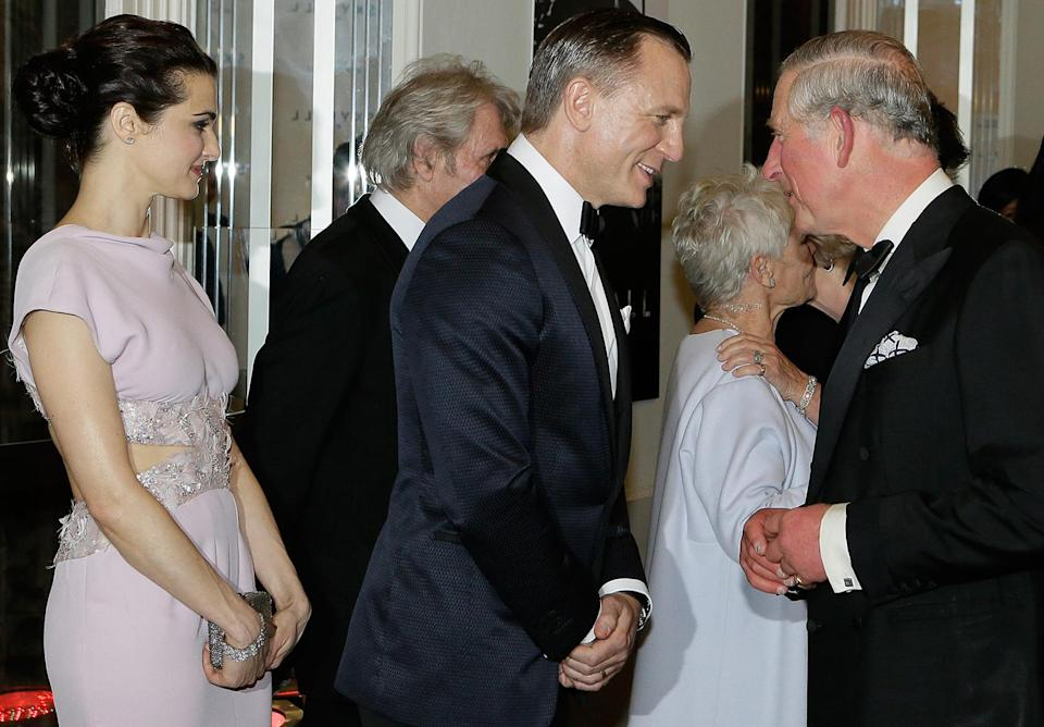 <p>In 2012 Prince Charles greeted Daniel Craig and his wife, actress Rachel Weisz, at the premiere of <em>Skyfall </em>at Royal Albert Hall in London. </p>