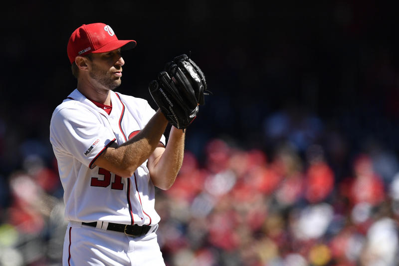 WASHINGTON, DC - MARCH 28: Max Scherzer #31 of the Washington Nationals pitches in the fifth inning against the New York Mets on Opening Day at Nationals Park on March 28, 2019 in Washington, DC. (Photo by Patrick McDermott/Getty Images)