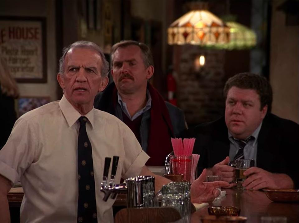 Nicholas Colasanto, John Ratzenberger, and George Wendt in Cheers