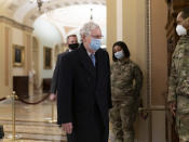 Senate Minority Leader Mitch McConnell, R-Ky., arrives for work as the second impeachment trial of former President Donald Trump begins in the Senate, at the Capitol in Washington, Tuesday, Feb. 9, 2021. (AP Photo/J. Scott Applewhite)