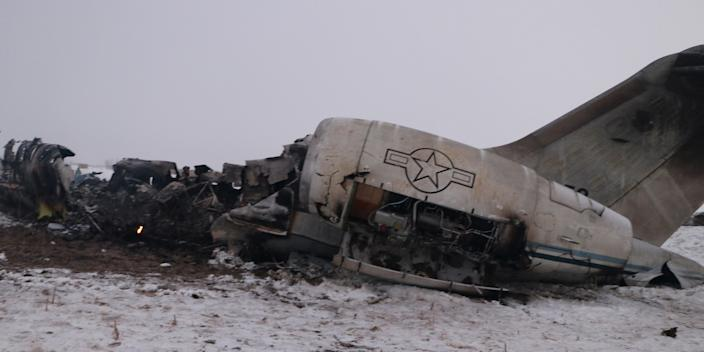 The wreckage of an airplane is seen after a crash in Deh Yak district of Ghazni province, Afghanistan January 27, 2020.