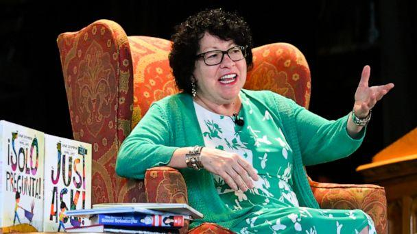 PHOTO: U.S. Supreme Court Justice Sonia Sotomayor addresses attendees of an event promoting her new children's book 'Just Ask!' in Decatur, Ga., Sept. 1, 2019. (John Amis/AP)
