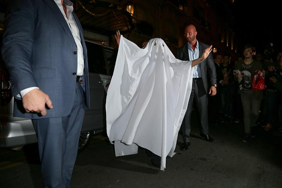 It's surprising that Lady Gaga, an artist known for over-the-top performance wear, would have the laziest costume on this list—but she's always challenging our expectations like that. Here she is as a simple ghost.