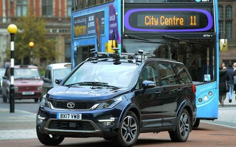 A Tata Motors European Technical Centre car with autonomous technology on a street in Coventry - Credit: Rui Vieira/PA