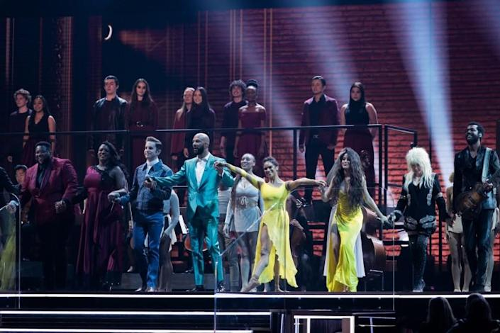 LOS ANGELES, CA - January 26, 2020: Michael Trotter Jr. and Tanya Blount-Trotter of The War and Treaty, Ben Platt, Common, Misty Copeland, Camila Cabello, Cyndi Lauper, and Gary Clark Jr. perform at the 62nd GRAMMY Awards at STAPLES Center in Los Angeles, CA. (Robert Gauthier / Los Angeles Times)