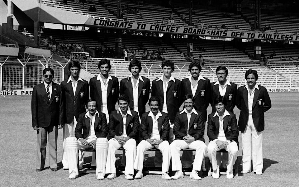 Yashpal, standing, far right, with his India teammates at the Wankhede Stadium in Mumbai in 1980 - Patrick Eagar/Popperfoto via Getty Images