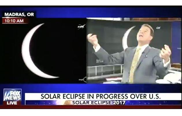 Stuck for hours on air, the anchor clearly couldn't care less about the eclipse. Photo: Twitter
