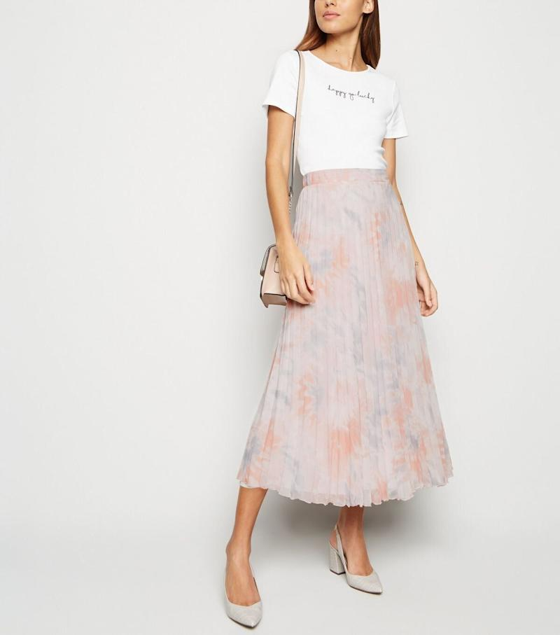 Pink Tie Dye Pleated Midi Skirt, New Look, £24.99 [Photo: New Look]