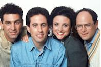 """<p>The concept for the show came while <a href=""""https://www.redbookmag.com/fashion/how-to/g450/jessica-seinfeld/"""" rel=""""nofollow noopener"""" target=""""_blank"""" data-ylk=""""slk:Jerry Seinfeld"""" class=""""link rapid-noclick-resp"""">Jerry Seinfeld</a> and Larry David were having a chat about items <a href=""""https://www.businessinsider.com/larry-david-talks-about-his-life-2013-11"""" rel=""""nofollow noopener"""" target=""""_blank"""" data-ylk=""""slk:in a grocery store"""" class=""""link rapid-noclick-resp"""">in a grocery store</a>. They had the realization that their banter was unlike anything they'd seen on TV or in movies and went from there.</p>"""