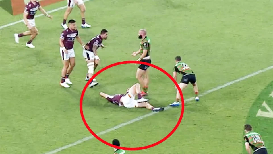 Seen here, Manly's Sean Keppie lies on the floor after a head injury against the Rabbbitohs.