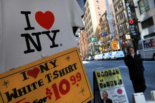 """A T-shirt with the famous """"I (Heart) NY"""" logo designed by Milton Glaser is on display at a Times Square store in New York City"""
