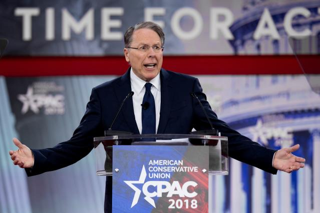 NRA executive vice president and CEO Wayne LaPierre speaks at the Conservative Political Action Conference in Oxen Hill, Md., on Feb. 22, 2018. (Photo: Jim Watson/AFP/Getty Images)