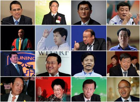 A combo picture shows (L-R) the top richest members of China's parliament and its advisory body, Victor Li of Cheung Kong, Lee Ka-Kit of Henderson Land, Pony Ma of Tencent, Zong Qinghou of Wahaha,  Henry Cheng Kar-Shun of New World Development, Robin Li of Baidu, Lu Zhiqiang of Oceanwide, Xu Jiayin of Evergrande, Zhang Jindong of Suning, Peter Woo of Wheelock, Lei Jun of Xiaomi Technology, Zhang Shiping of Weiqiao Pioneering, Yang Guoqiang of Country Garden, Chen Lihua of Fu Wah International, Xu Rongmao of Shimao, Guo Guangchang of Fosun.  REUTERS/Stringers