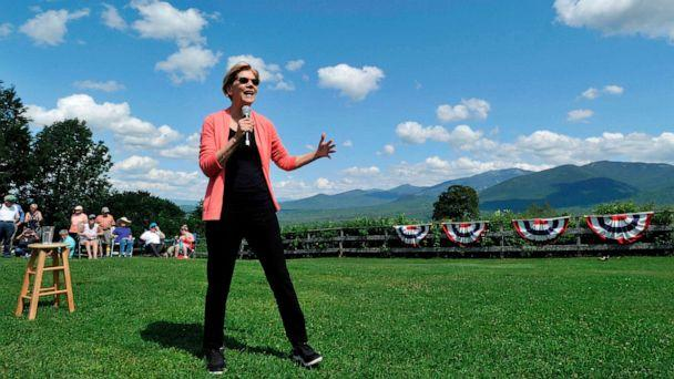 PHOTO: Democratic presidential candidate Elizabeth Warren speaks to supporters during a campaign stop and town hall at Toad Hill Farm in Franconia, New Hampshire, overlooking the White Mountains on Aug. 14, 2019. (Joseph Prezioso/AFP/Getty Images)