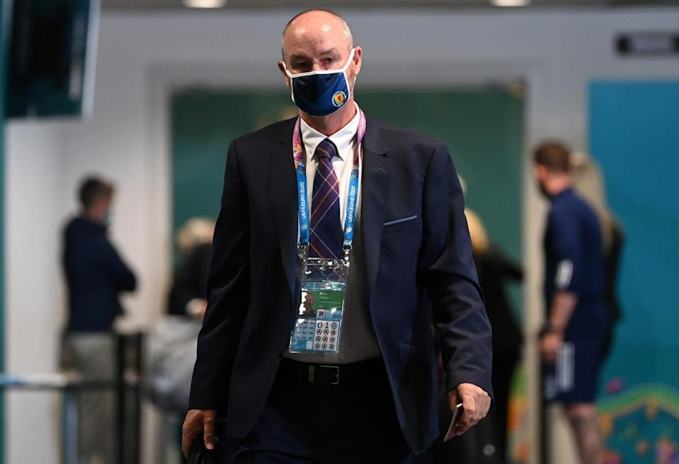 Steve Clarke, Head Coach of Scotland arrives at the stadium whilst wearing a face mask prior to the UEFA Euro 2020 Championship Group D match - Shaun Botterill/UEFA via Getty Images
