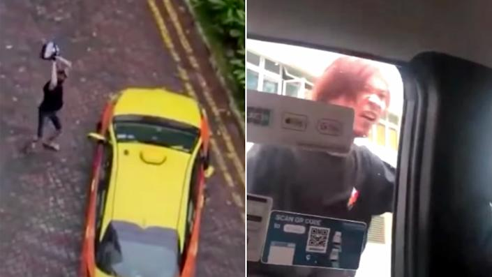 Two videos of the alleged incident. (PHOTO: Screengrabs from videos posted on social media)
